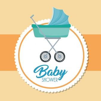 Karta baby shower z wózkiem