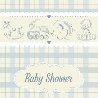 Karta baby shower z zabawkami chłopiec retro