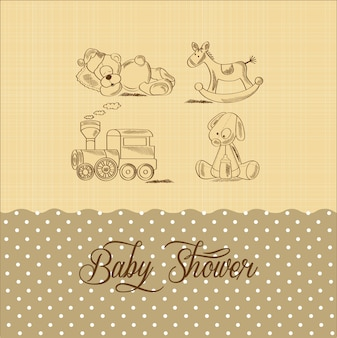 Karta baby shower z zabawkami retro