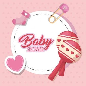 Karta baby shower z zestaw ikon