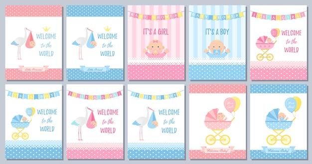 Karta baby shower. zaproszenie ładny różowy niebieski szablon. ilustracja kreskówka