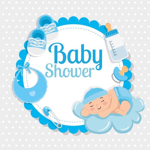 Karta baby shower ze słodkim chłopcem i dekoracją