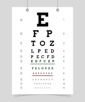 Karta badania oczu. plakat z listem do okulisty do badania wzroku. ilustracja wektorowa na białym tle