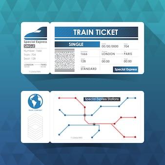 Karta biletu kolejowego, projektowanie elementów w kolorze niebieskim.