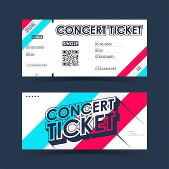 Karta biletu na koncert. szablon elementu dla projektu.