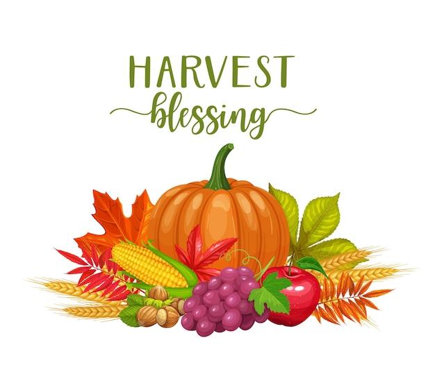Karta błogosławieństwa zbiorów z jesiennymi liśćmi klonu, dębu, kasztanowca, orzechów i dyni.