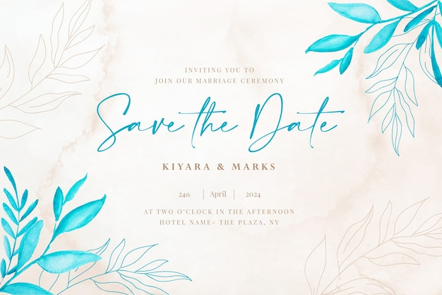 Karta botaniczna akwarela ślub zapisz datę