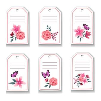 Karta botaniczna z kwiatami, różami, motylem, liśćmi.