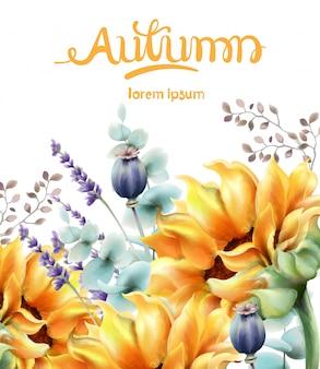 Karta bukiet żółte kwiaty jesienią
