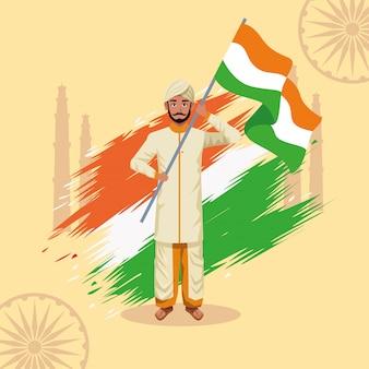 Karta celebracja szczęśliwy dzień niepodległości indii z człowiekiem i flagi
