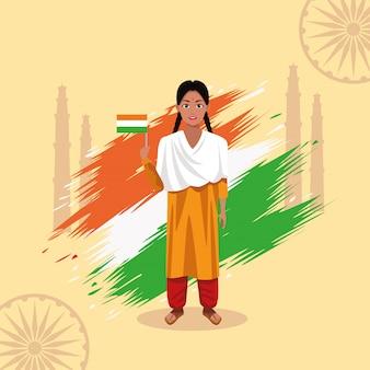 Karta celebracja szczęśliwy dzień niepodległości indii z kobietą i flagą