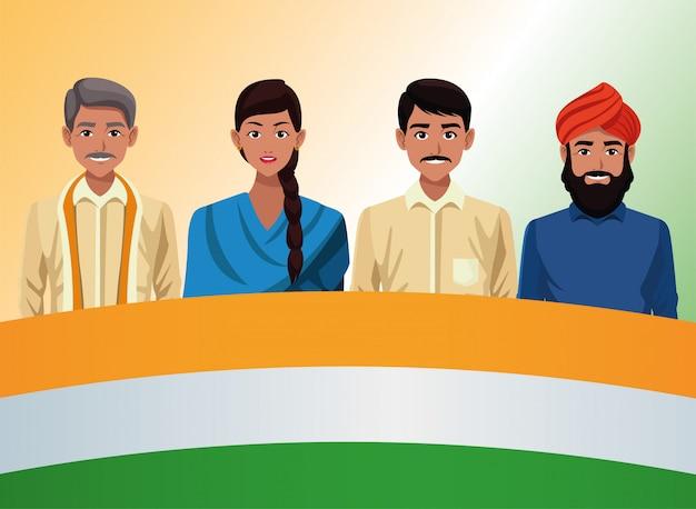 Karta celebracja szczęśliwy dzień niepodległości indii z ludźmi i flagi