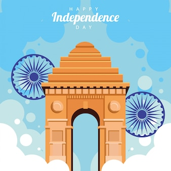 Karta celebracja szczęśliwy dzień niepodległości indii z łukiem świątyni