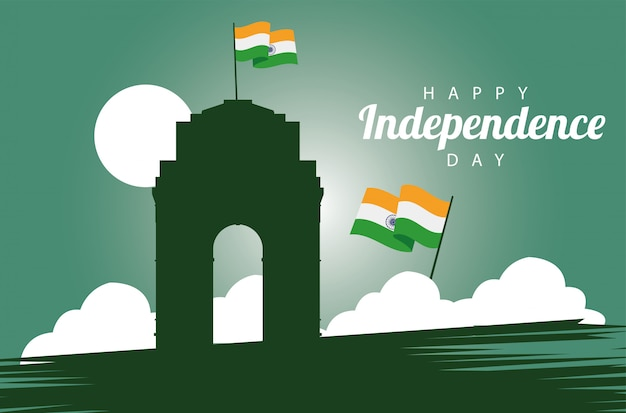 Karta celebracja szczęśliwy dzień niepodległości indii z meczetu i flagi