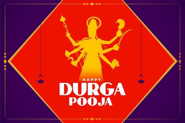Karta celebracji durga puja z bożkiem idolem