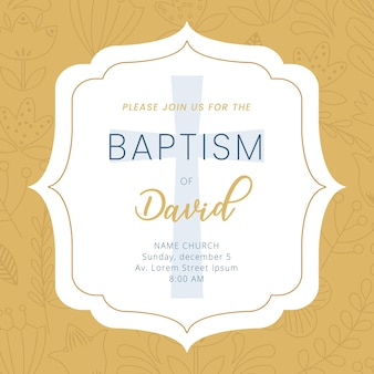 Karta chrztu z ramką i informacją o chrzcie