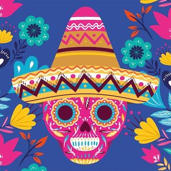 Karta cinco de mayo z czaszką i kapeluszem