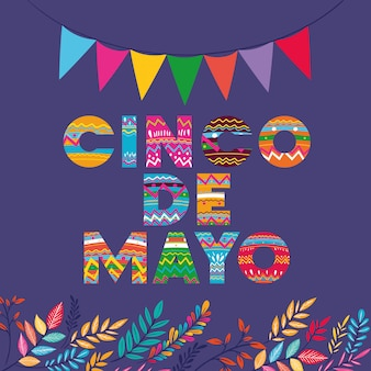 Karta cinco de mayo z girlandami i kwiatami