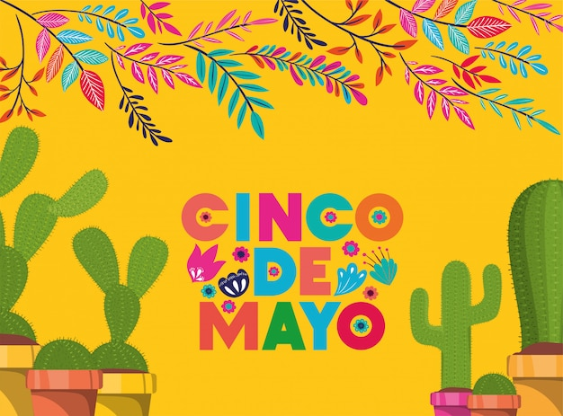 Karta cinco de mayo z kwiatami i kaktusem