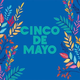 Karta cinco de mayo z kwiatową ramką