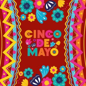 Karta cinco de mayo z ramą kwiatowy i tekstury