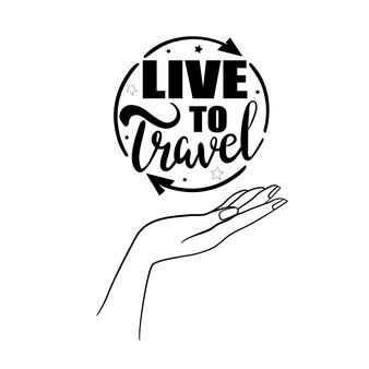 Karta czas na podróż. ręcznie rysowane nowoczesnej kaligrafii. ilustracja atramentu. pozytywny cytat o podróży i przygodzie. ręcznie rysowane napis karty lub plakat.