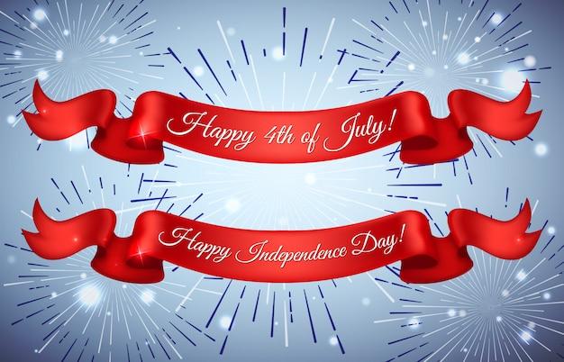 Karta czerwonych wstążek dla szczęśliwego dnia niepodległości stany zjednoczone ameryki, 4 lipca. kartkę z życzeniami z okazji dnia niepodległości