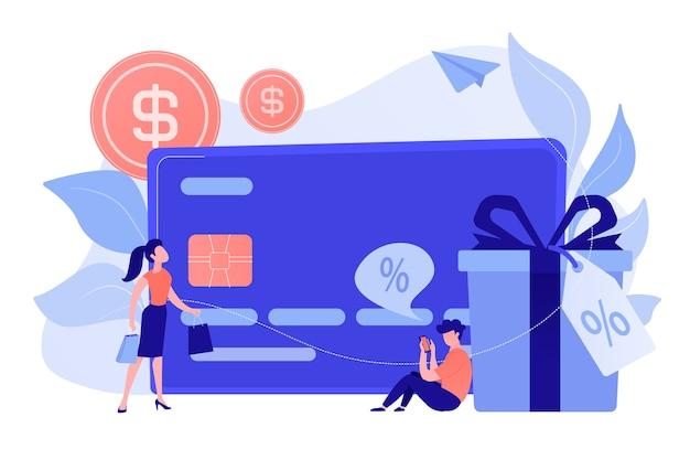 Karta debetowa, pudełko upominkowe i użytkownicy. płatności kartą online i plastikowe pieniądze, zakup i zakupy kartą bankową, handel elektroniczny i bezpieczna koncepcja oszczędzania banku. ilustracja wektorowa na białym tle.