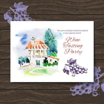 Karta degustacji wina. projekt wektorowy z ilustracją akwareli