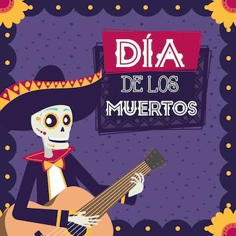 Karta dia de los muertos z czaszką mariachi grającą na gitarze