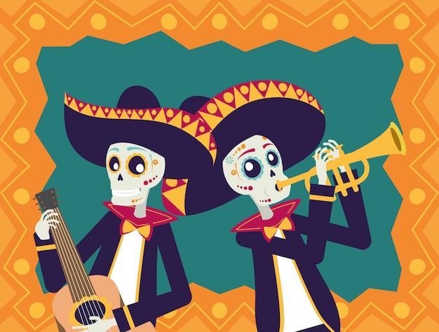 Karta dia de los muertos z czaszkami mariachi grającymi na gitarze i trąbce