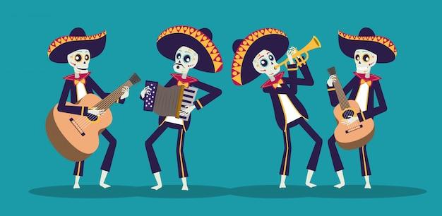 Karta dia de los muertos z czaszkami mariachi grającymi na instrumentach