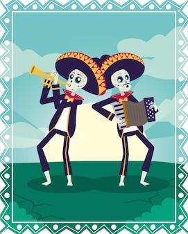 Karta dia de los muertos z czaszkami mariachi grającymi na trąbce i akordeonie