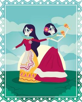 Karta dia de los muertos z katrinami grającymi postacie marakasów