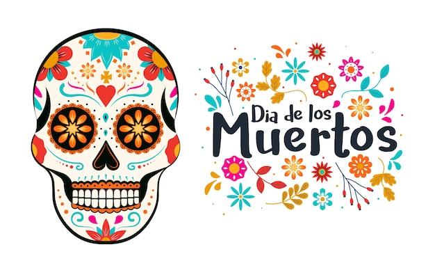 Karta dia de los muertos z kolorowymi meksykańskimi kwiatami