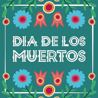 Karta dia de los muertos z kwiatową dekoracją