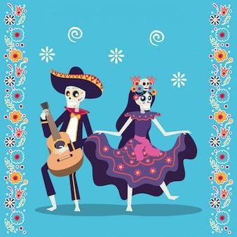 Karta dia de los muertos z mariachi grającymi na gitarze i catrina