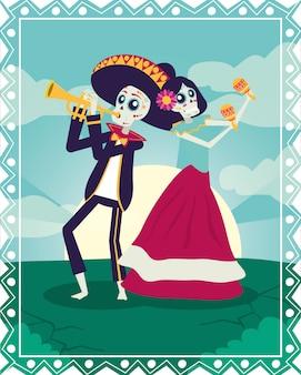 Karta dia de los muertos z mariachi grającymi na trąbce i katrina