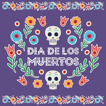 Karta dia de los muertos z maskami czaszek i kwiatami