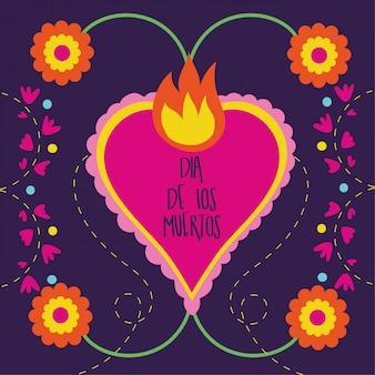 Karta dia de muertos z płomieniem serca i kwiatami