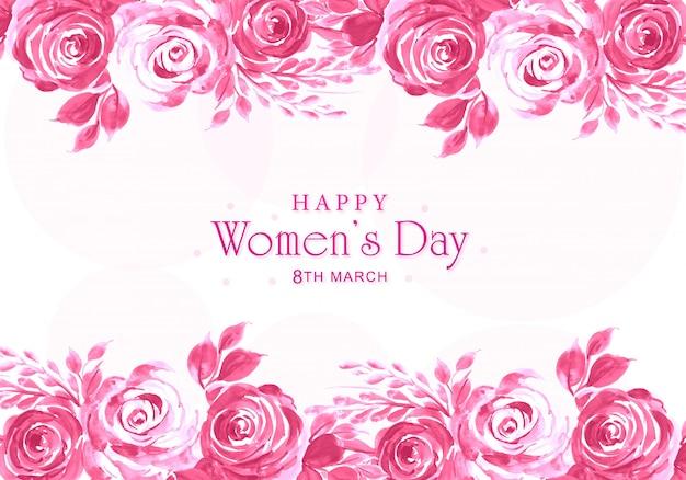 Karta dnia kobiet z ozdobnym motywem kwiatowym