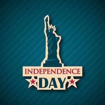 Karta dnia niepodległości. statua wolności.