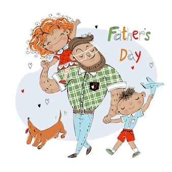 Karta dnia ojca na wakacje. ojciec z córką z synem i pieskiem z rudym jamnikiem.