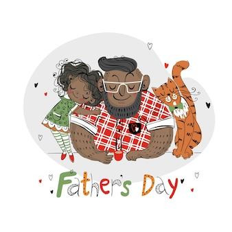 Karta dnia ojca na wakacje. tata z córką i kotem. ciemny kolor skóry.wektor