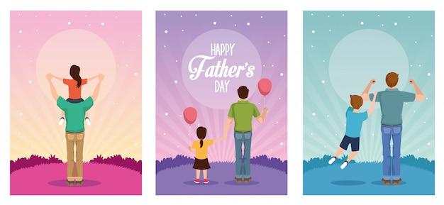Karta dnia ojca z postaciami tatusiów i dzieci