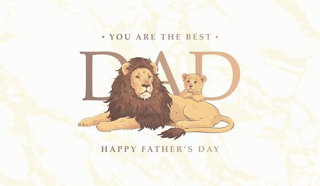 Karta dnia ojca z rodziną lwów