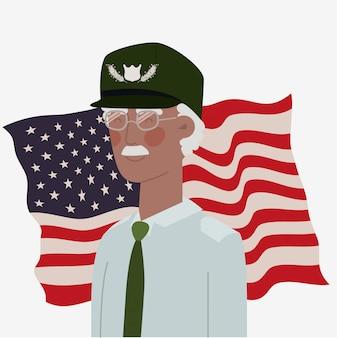 Karta dnia pamięci z flagą weterana afro i usa