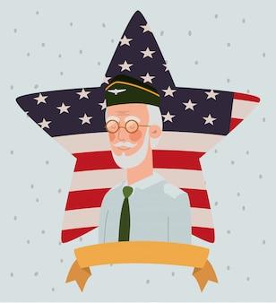 Karta dnia pamięci z flagą weterana i usa w gwiazdę