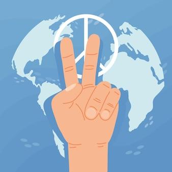 Karta dnia pokoju z symbolem dłoni