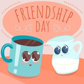 Karta dnia przyjaźni z kubkiem kawy i postaciami z mleka